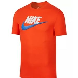 Orange Nike logo shirt with blue swoosh